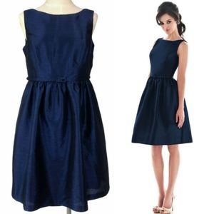 Midnight Blue Sleeveless Belted Party Dress D488